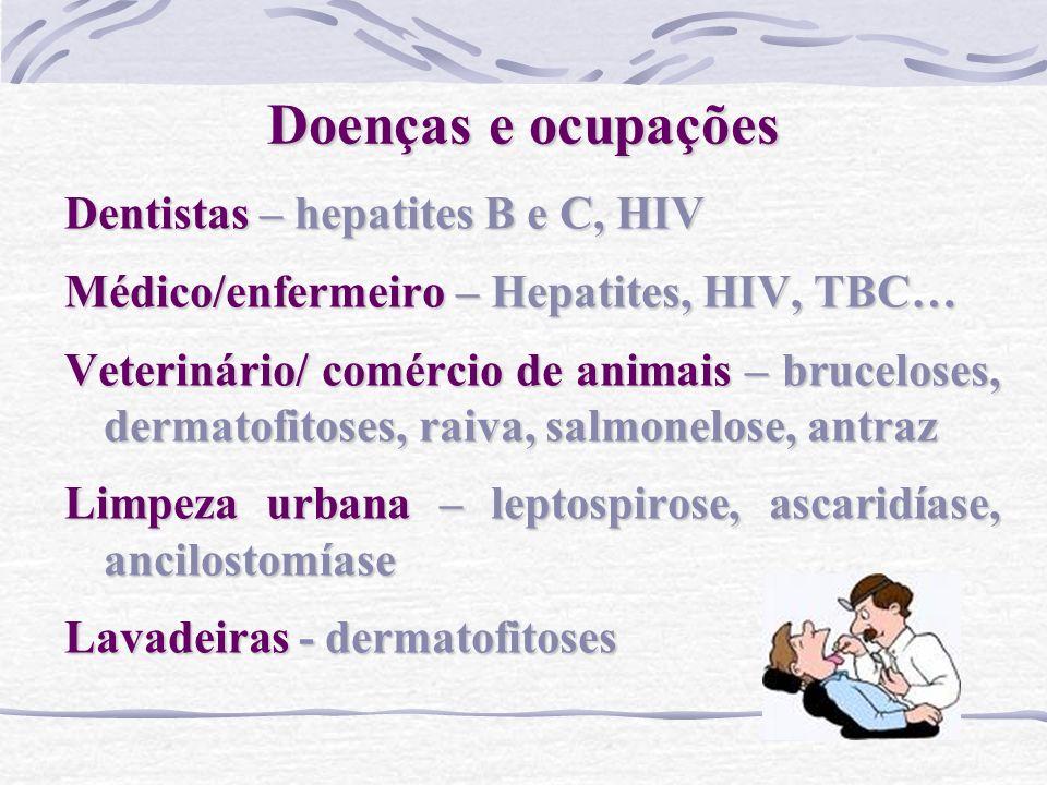 Doenças e ocupações Dentistas – hepatites B e C, HIV Médico/enfermeiro – Hepatites, HIV, TBC… Veterinário/ comércio de animais – bruceloses, dermatofi