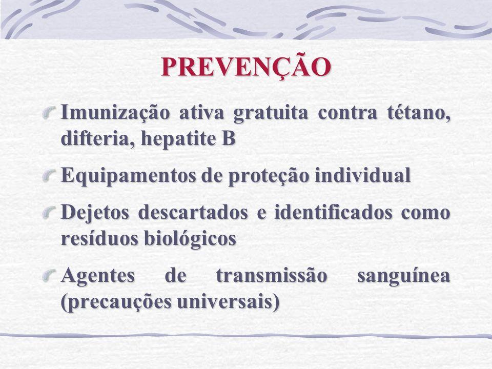 PREVENÇÃO Imunização ativa gratuita contra tétano, difteria, hepatite B Equipamentos de proteção individual Dejetos descartados e identificados como r