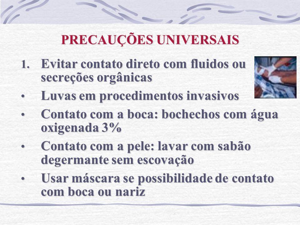 PRECAUÇÕES UNIVERSAIS 1. Evitar contato direto com fluidos ou secreções orgânicas Luvas em procedimentos invasivos Luvas em procedimentos invasivos Co