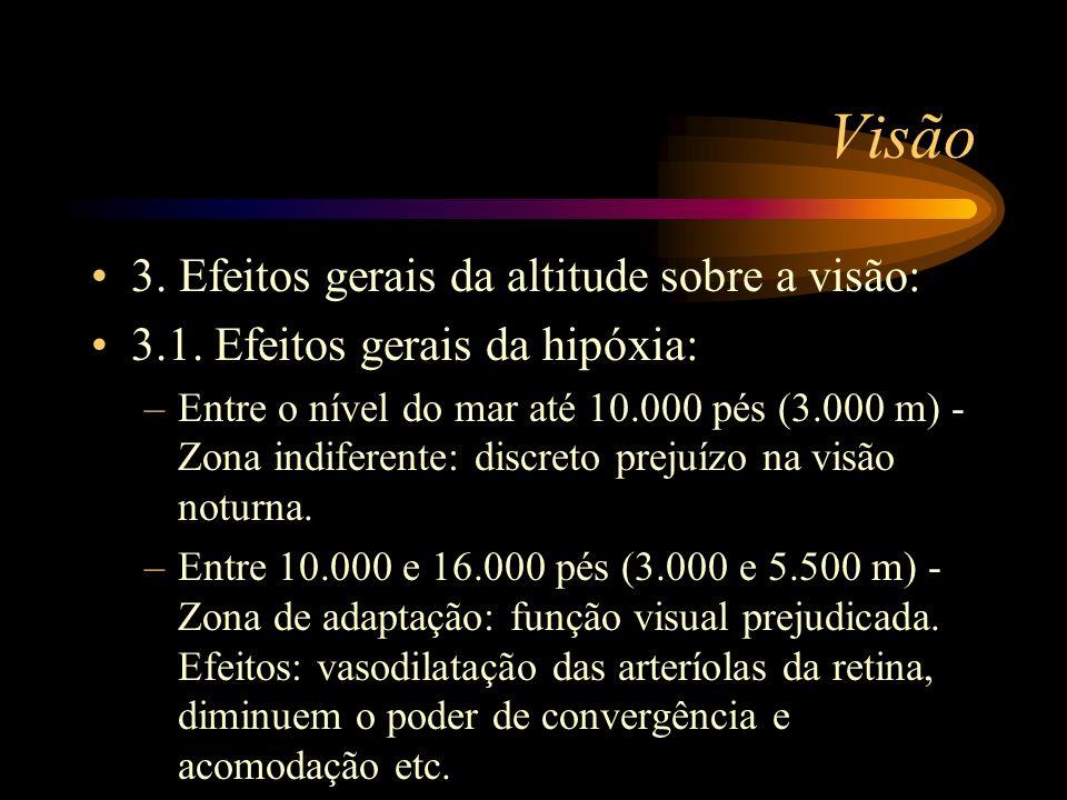 Visão 3. Efeitos gerais da altitude sobre a visão: 3.1. Efeitos gerais da hipóxia: –Entre o nível do mar até 10.000 pés (3.000 m) - Zona indiferente: