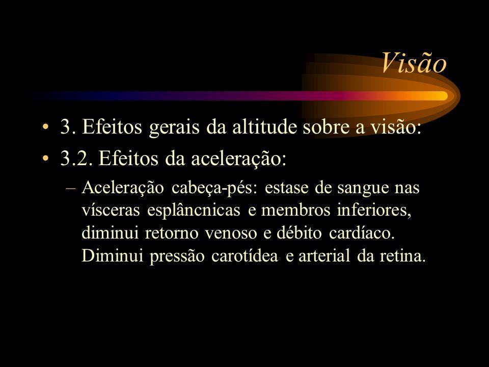 Visão 3. Efeitos gerais da altitude sobre a visão: 3.2. Efeitos da aceleração: –Aceleração cabeça-pés: estase de sangue nas vísceras esplâncnicas e me