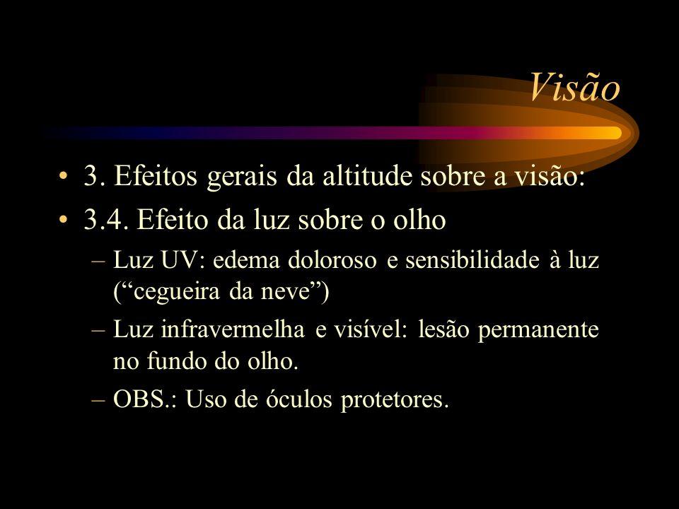 Visão 3. Efeitos gerais da altitude sobre a visão: 3.4. Efeito da luz sobre o olho –Luz UV: edema doloroso e sensibilidade à luz (cegueira da neve) –L