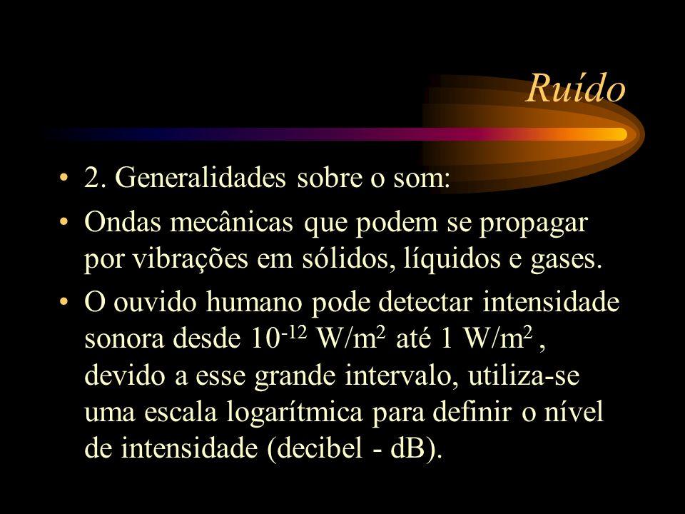 Ruído 2. Generalidades sobre o som: Ondas mecânicas que podem se propagar por vibrações em sólidos, líquidos e gases. O ouvido humano pode detectar in