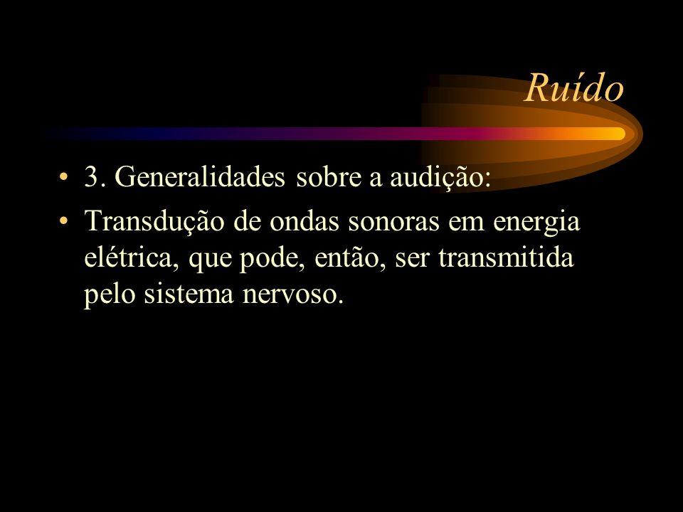 Ruído 3. Generalidades sobre a audição: Transdução de ondas sonoras em energia elétrica, que pode, então, ser transmitida pelo sistema nervoso.