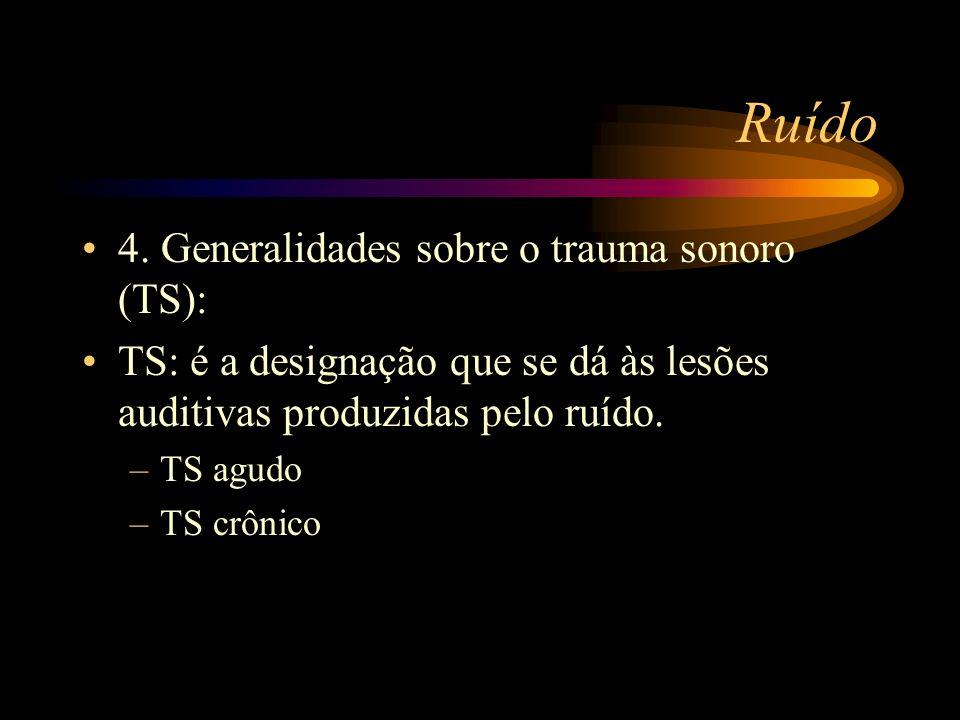 Ruído 4. Generalidades sobre o trauma sonoro (TS): TS: é a designação que se dá às lesões auditivas produzidas pelo ruído. –TS agudo –TS crônico