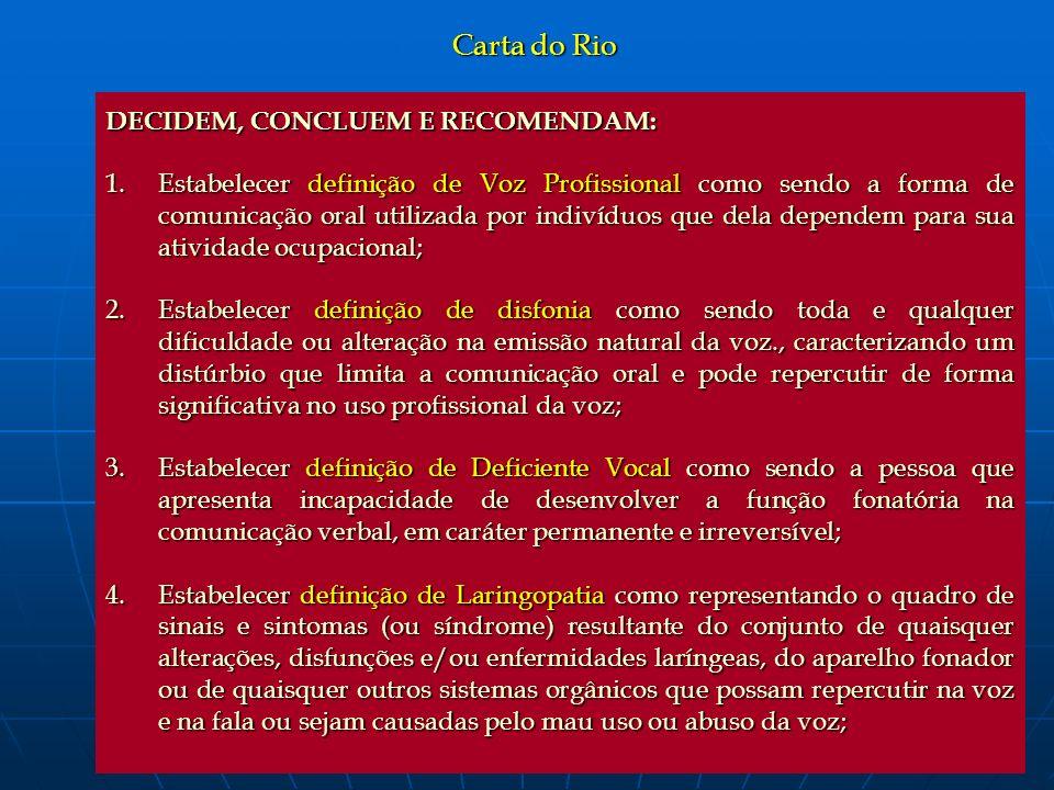 Carta do Rio DECIDEM, CONCLUEM E RECOMENDAM: 1.Estabelecer definição de Voz Profissional como sendo a forma de comunicação oral utilizada por indivídu