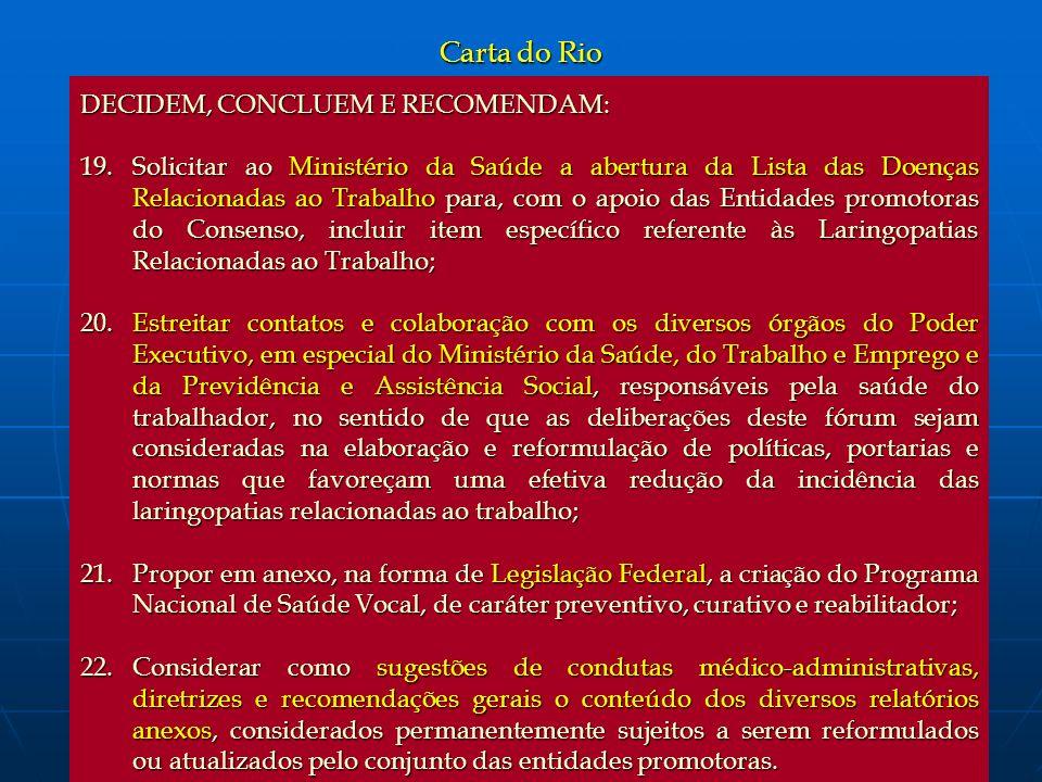 Carta do Rio DECIDEM, CONCLUEM E RECOMENDAM: 19.Solicitar ao Ministério da Saúde a abertura da Lista das Doenças Relacionadas ao Trabalho para, com o