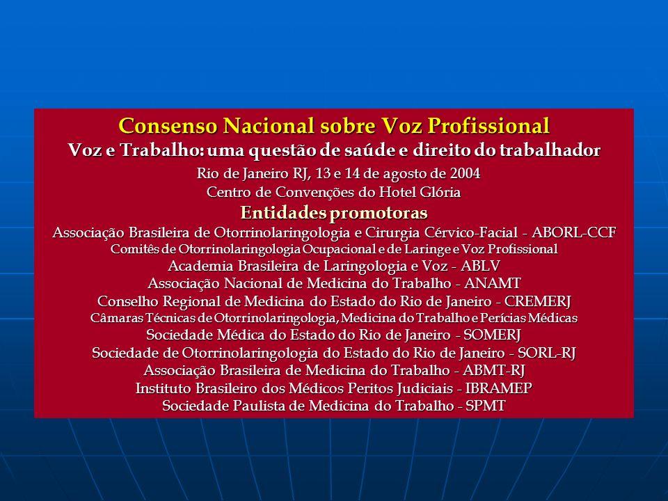 Consenso Nacional sobre Voz Profissional Voz e Trabalho: uma questão de saúde e direito do trabalhador Rio de Janeiro RJ, 13 e 14 de agosto de 2004 Ri