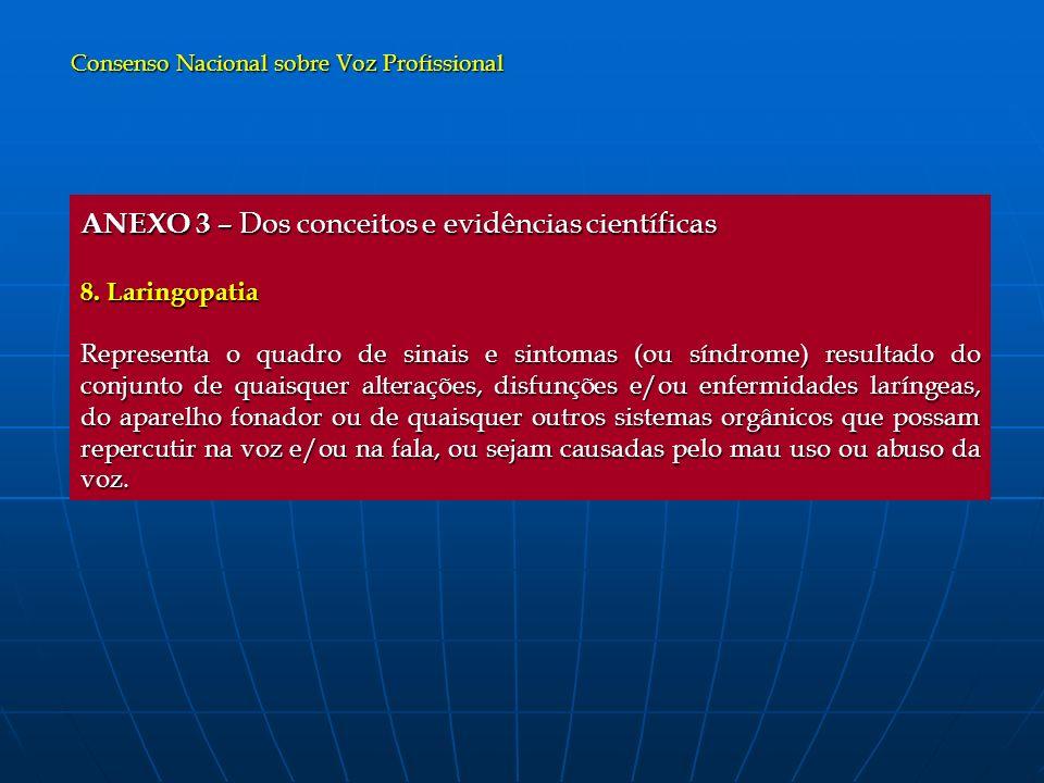 ANEXO 3 – Dos conceitos e evidências científicas 8. Laringopatia Representa o quadro de sinais e sintomas (ou síndrome) resultado do conjunto de quais