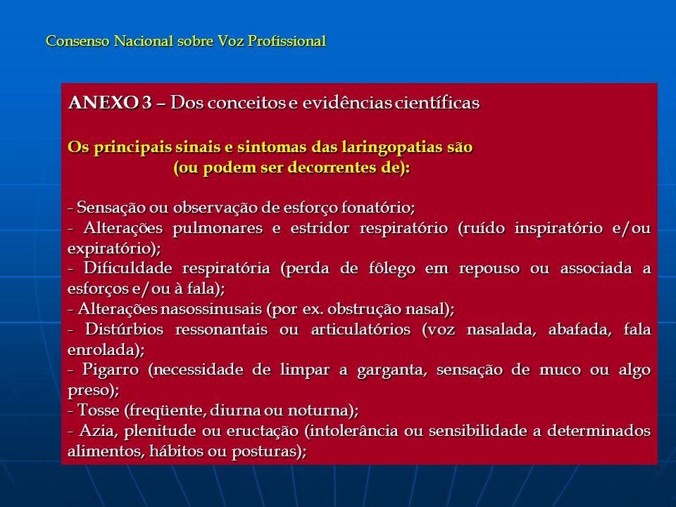 ANEXO 3 – Dos conceitos e evidências científicas Os principais sinais e sintomas das laringopatias são (ou podem ser decorrentes de): (ou podem ser de