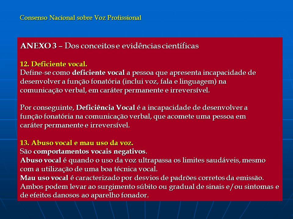 ANEXO 3 – Dos conceitos e evidências científicas 12. Deficiente vocal. Define-se como deficiente vocal a pessoa que apresenta incapacidade de desenvol