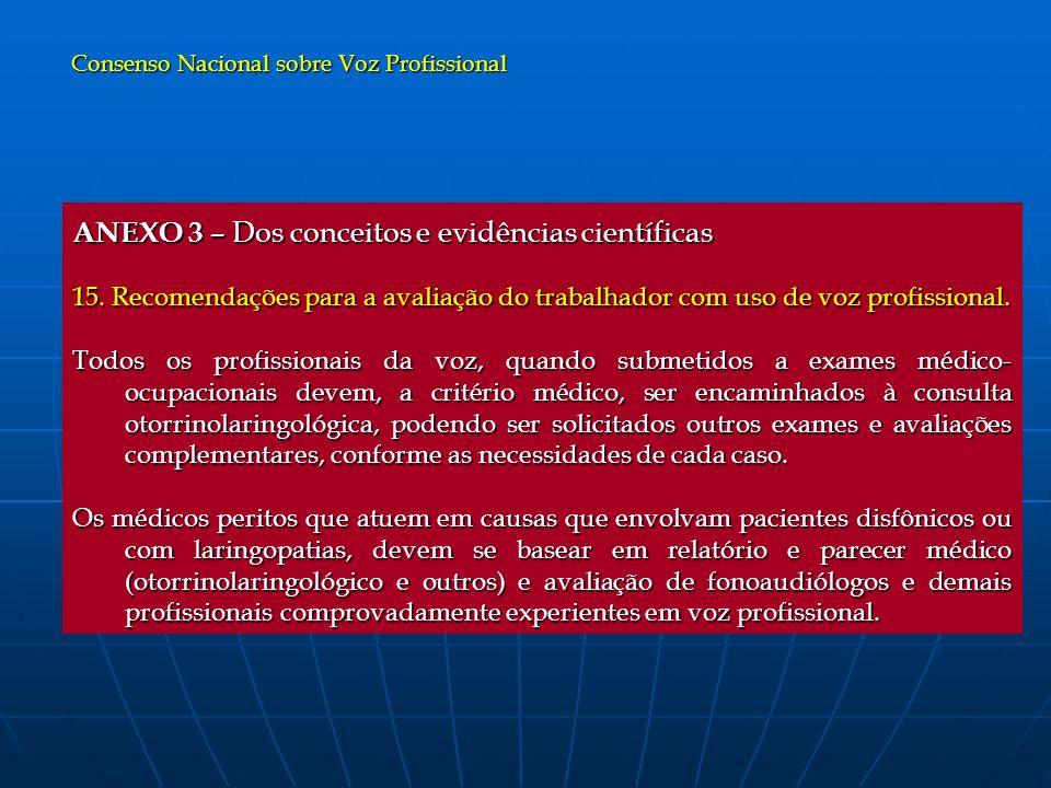 ANEXO 3 – Dos conceitos e evidências científicas 15. Recomendações para a avaliação do trabalhador com uso de voz profissional. Todos os profissionais