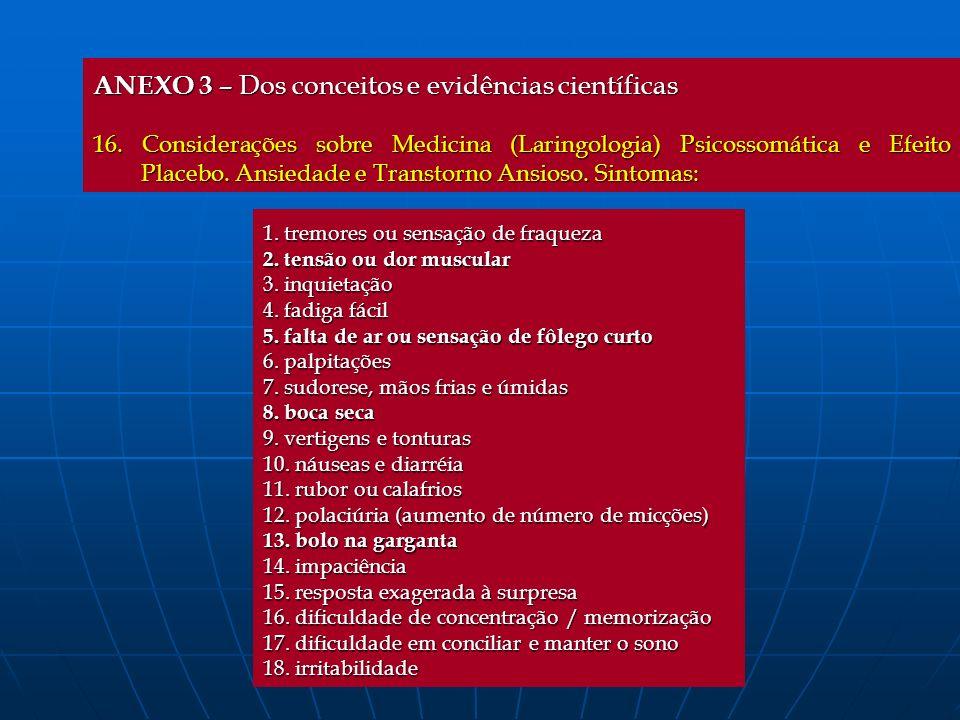 ANEXO 3 – Dos conceitos e evidências científicas 16. Considerações sobre Medicina (Laringologia) Psicossomática e Efeito Placebo. Ansiedade e Transtor