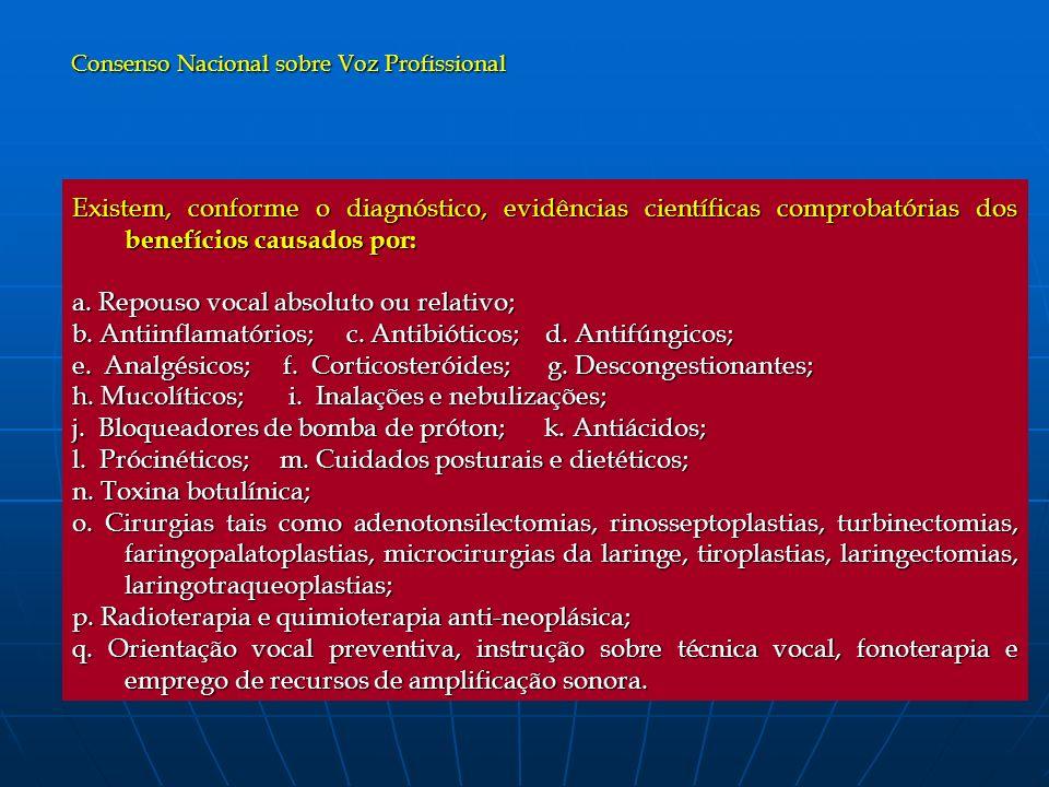 Existem, conforme o diagnóstico, evidências científicas comprobatórias dos benefícios causados por: a. Repouso vocal absoluto ou relativo; b. Antiinfl