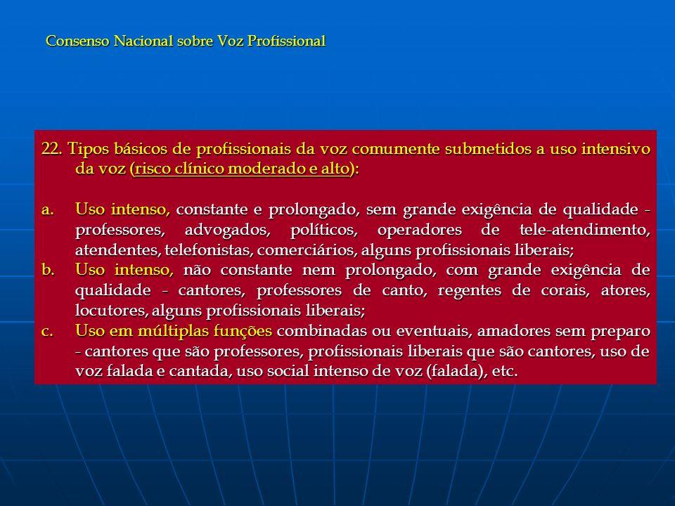 22. Tipos básicos de profissionais da voz comumente submetidos a uso intensivo da voz (risco clínico moderado e alto): a.Uso intenso, constante e prol
