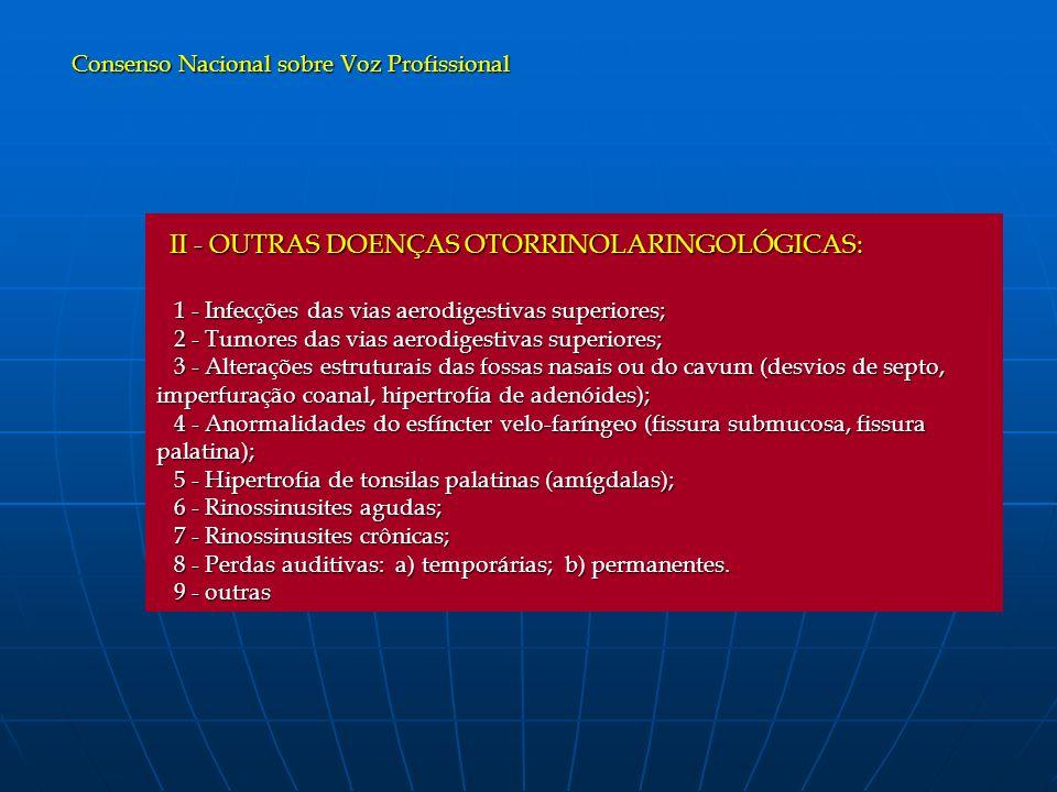 II - OUTRAS DOENÇAS OTORRINOLARINGOLÓGICAS: II - OUTRAS DOENÇAS OTORRINOLARINGOLÓGICAS: 1 - Infecções das vias aerodigestivas superiores; 1 - Infecçõe