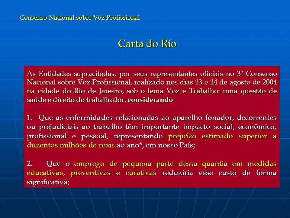 Carta do Rio As Entidades supracitadas, por seus representantes oficiais no 3º Consenso Nacional sobre Voz Profissional, realizado nos dias 13 e 14 de