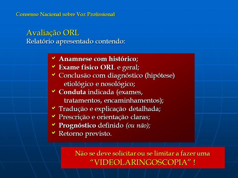 Avaliação ORL Relatório apresentado contendo: Anamnese com histórico ; Anamnese com histórico ; Exame físico ORL e geral; Exame físico ORL e geral; Co