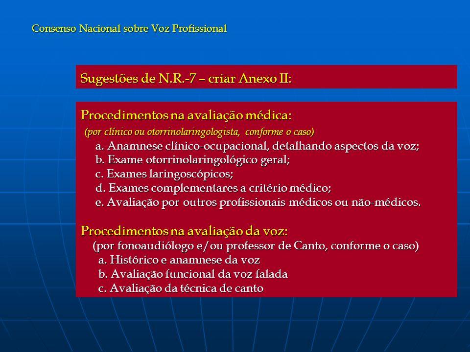 Procedimentos na avaliação médica: (por clínico ou otorrinolaringologista, conforme o caso) (por clínico ou otorrinolaringologista, conforme o caso) a