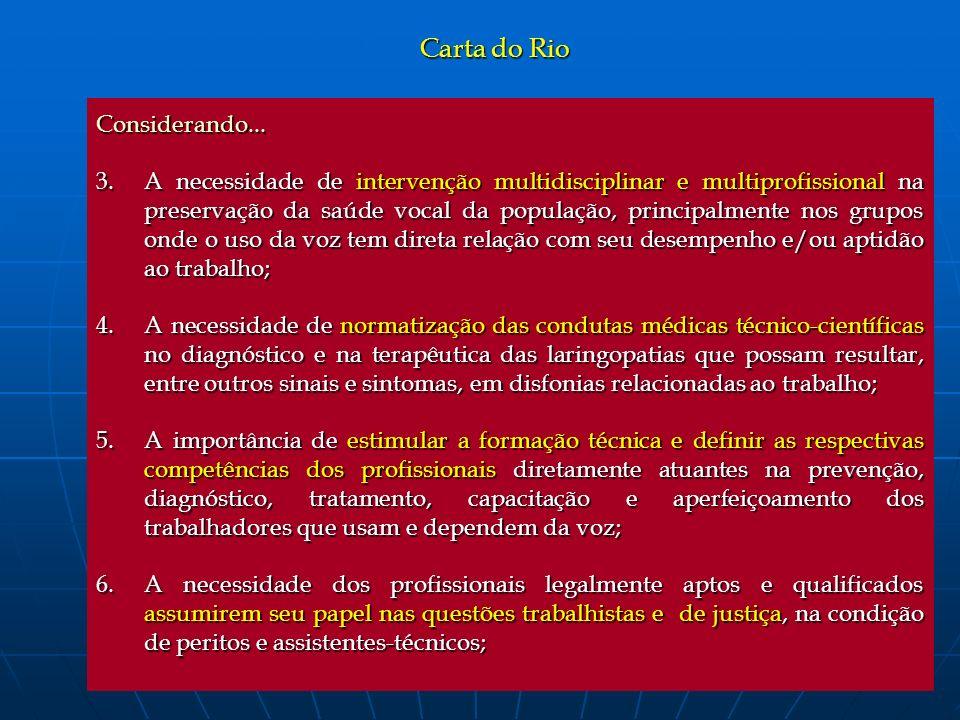 Carta do Rio Considerando... 3.A necessidade de intervenção multidisciplinar e multiprofissional na preservação da saúde vocal da população, principal