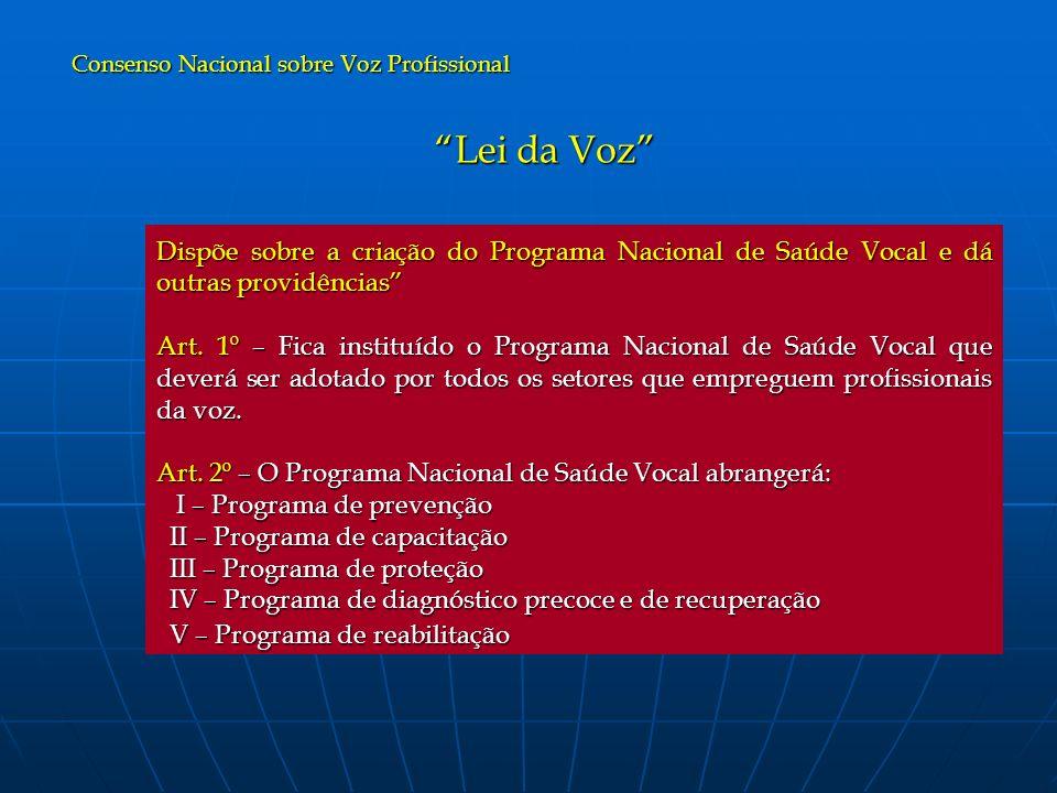 Lei da Voz Dispõe sobre a criação do Programa Nacional de Saúde Vocal e dá outras providências Art. 1º – Fica instituído o Programa Nacional de Saúde
