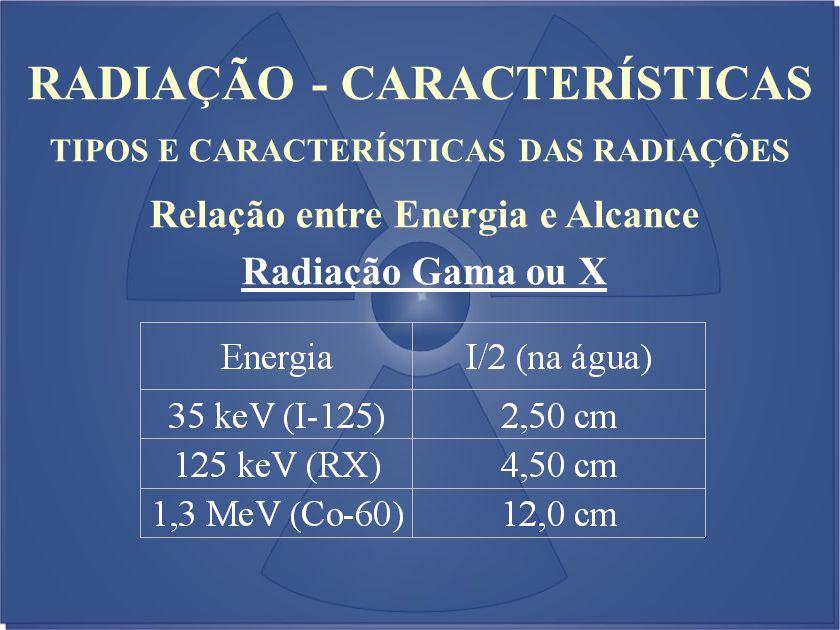RADIAÇÃO - CARACTERÍSTICAS TIPOS E CARACTERÍSTICAS DAS RADIAÇÕES Relação entre Energia e Alcance Radiação Gama ou X