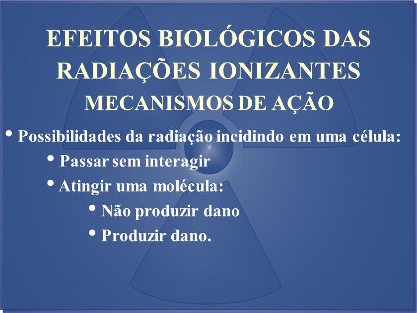 EFEITOS BIOLÓGICOS DAS RADIAÇÕES IONIZANTES Possibilidades da radiação incidindo em uma célula: Passar sem interagir Atingir uma molécula: Não produzi