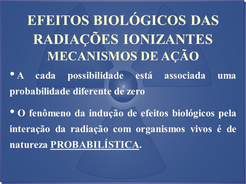 EFEITOS BIOLÓGICOS DAS RADIAÇÕES IONIZANTES MECANISMOS DE AÇÃO A cada possibilidade está associada uma probabilidade diferente de zero O fenômeno da i