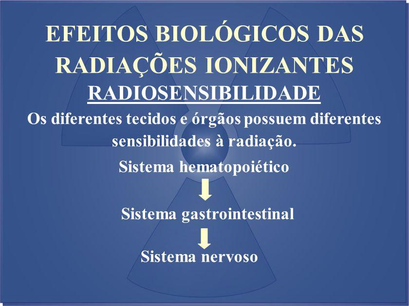 EFEITOS BIOLÓGICOS DAS RADIAÇÕES IONIZANTES RADIOSENSIBILIDADE Os diferentes tecidos e órgãos possuem diferentes sensibilidades à radiação. Sistema he