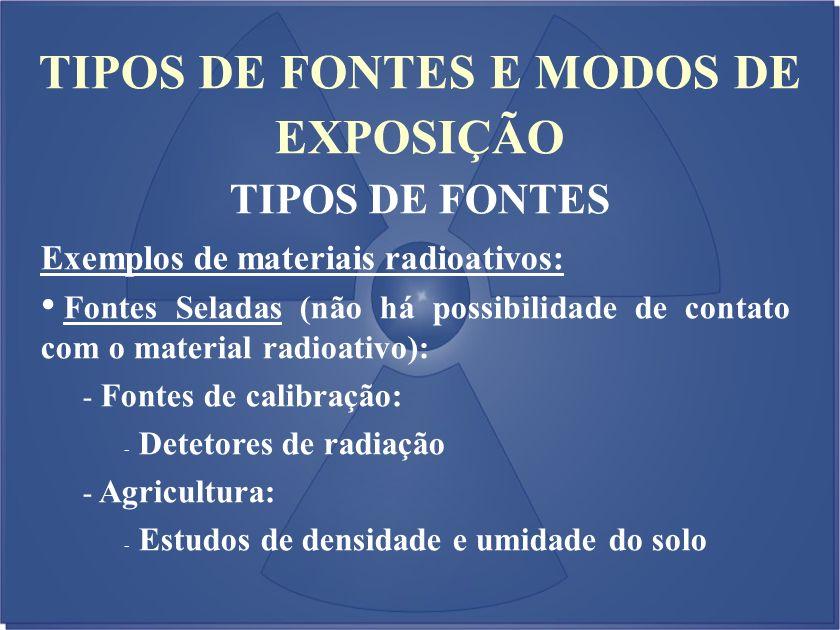 TIPOS DE FONTES E MODOS DE EXPOSIÇÃO TIPOS DE FONTES Exemplos de materiais radioativos: Fontes Seladas (não há possibilidade de contato com o material