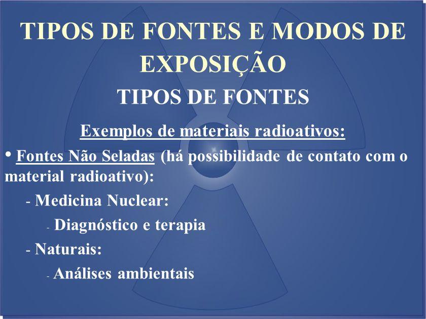 TIPOS DE FONTES E MODOS DE EXPOSIÇÃO TIPOS DE FONTES Exemplos de materiais radioativos: Fontes Não Seladas (há possibilidade de contato com o material