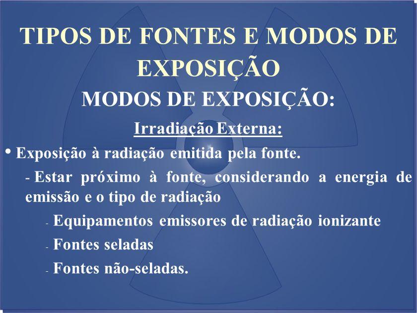 TIPOS DE FONTES E MODOS DE EXPOSIÇÃO MODOS DE EXPOSIÇÃO: Irradiação Externa: Exposição à radiação emitida pela fonte. - Estar próximo à fonte, conside