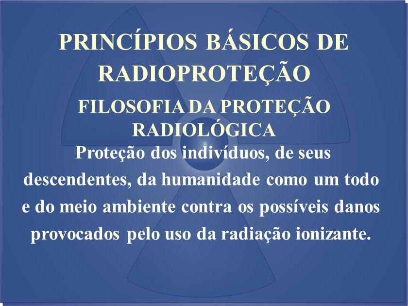 PRINCÍPIOS BÁSICOS DE RADIOPROTEÇÃO FILOSOFIA DA PROTEÇÃO RADIOLÓGICA Proteção dos indivíduos, de seus descendentes, da humanidade como um todo e do m
