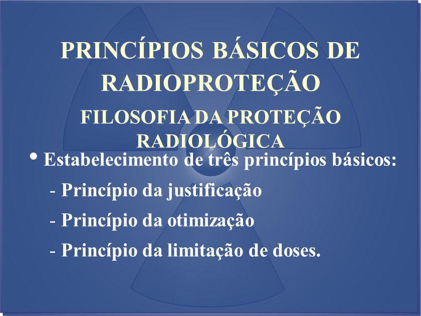 FILOSOFIA DA PROTEÇÃO RADIOLÓGICA Estabelecimento de três princípios básicos: - Princípio da justificação - Princípio da otimização - Princípio da lim