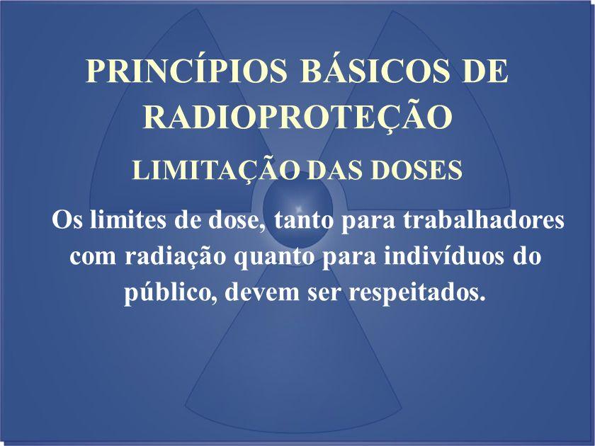 LIMITAÇÃO DAS DOSES Os limites de dose, tanto para trabalhadores com radiação quanto para indivíduos do público, devem ser respeitados. PRINCÍPIOS BÁS
