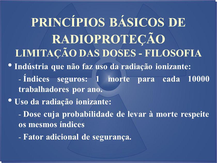 LIMITAÇÃO DAS DOSES - FILOSOFIA Indústria que não faz uso da radiação ionizante: - Índices seguros: 1 morte para cada 10000 trabalhadores por ano. Uso