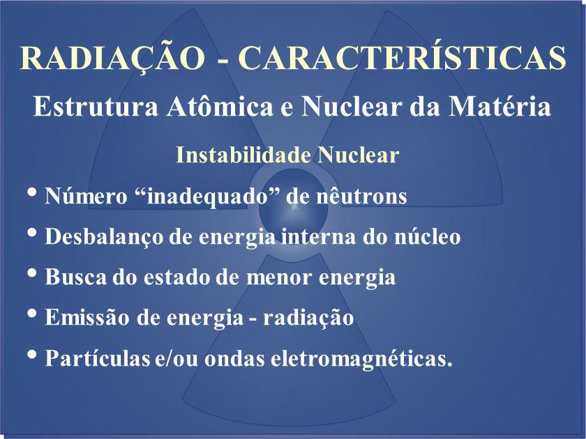 RADIAÇÃO - CARACTERÍSTICAS Estrutura Atômica e Nuclear da Matéria Instabilidade Nuclear Número inadequado de nêutrons Desbalanço de energia interna do