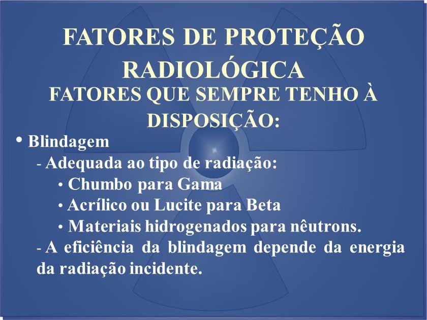 FATORES QUE SEMPRE TENHO À DISPOSIÇÃO: Blindagem - Adequada ao tipo de radiação: Chumbo para Gama Acrílico ou Lucite para Beta Materiais hidrogenados