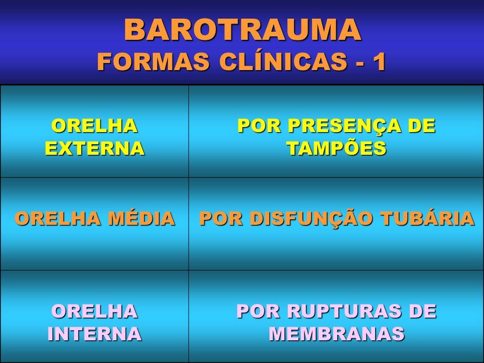 BAROTRAUMA FORMAS CLÍNICAS - 1 ORELHA EXTERNA POR PRESENÇA DE TAMPÕES ORELHA MÉDIA POR DISFUNÇÃO TUBÁRIA ORELHA INTERNA POR RUPTURAS DE MEMBRANAS