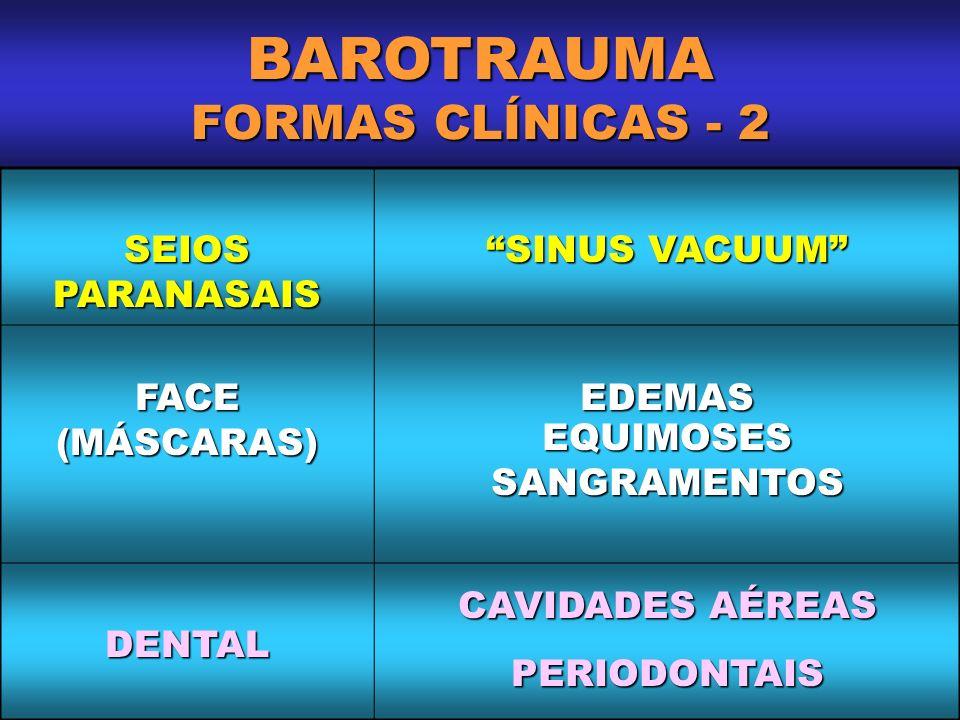BAROTRAUMA FORMAS CLÍNICAS - 2 SEIOS PARANASAIS SINUS VACUUM FACE(MÁSCARAS)EDEMASEQUIMOSESSANGRAMENTOS DENTAL CAVIDADES AÉREAS PERIODONTAIS