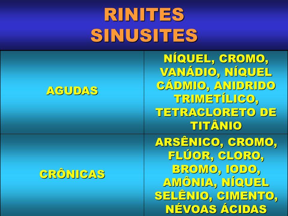 RINITES SINUSITES AGUDAS NÍQUEL, CROMO, VANÁDIO, NÍQUEL CÁDMIO, ANIDRIDO TRIMETÍLICO, TETRACLORETO DE TITÂNIO CRÔNICAS ARSÊNICO, CROMO, FLÚOR, CLORO,