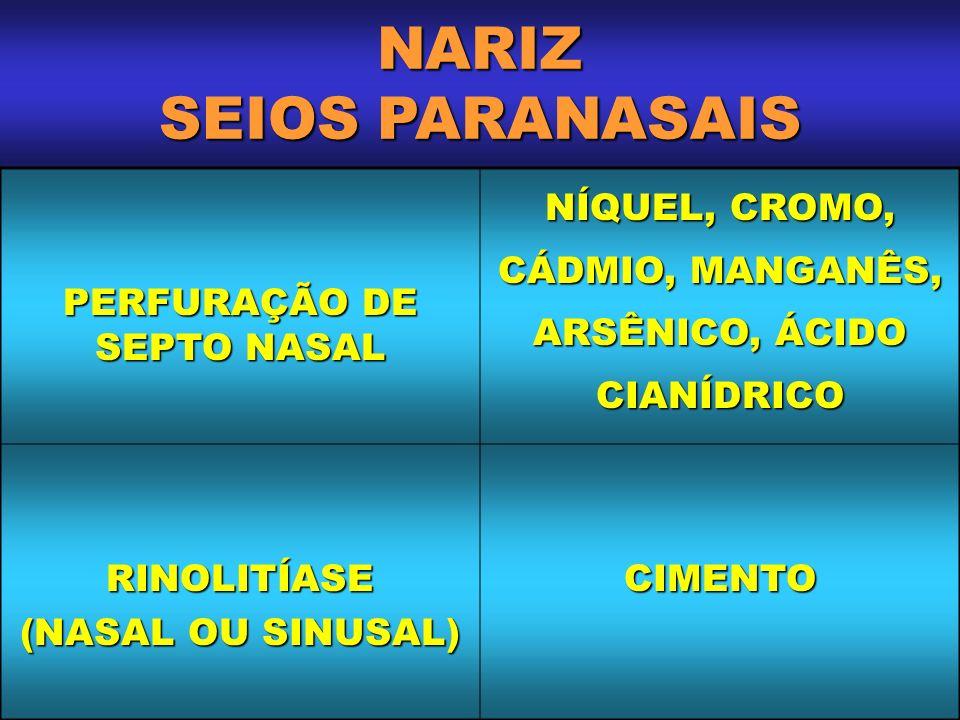 NARIZ SEIOS PARANASAIS PERFURAÇÃO DE SEPTO NASAL NÍQUEL, CROMO, CÁDMIO, MANGANÊS, ARSÊNICO, ÁCIDO CIANÍDRICO RINOLITÍASE (NASAL OU SINUSAL) CIMENTO