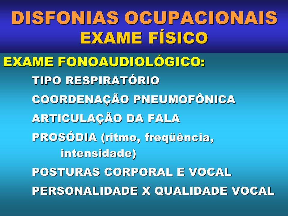 DISFONIAS OCUPACIONAIS EXAME FÍSICO EXAME FONOAUDIOLÓGICO: TIPO RESPIRATÓRIO COORDENAÇÃO PNEUMOFÔNICA ARTICULAÇÃO DA FALA PROSÓDIA (ritmo, freqüência,