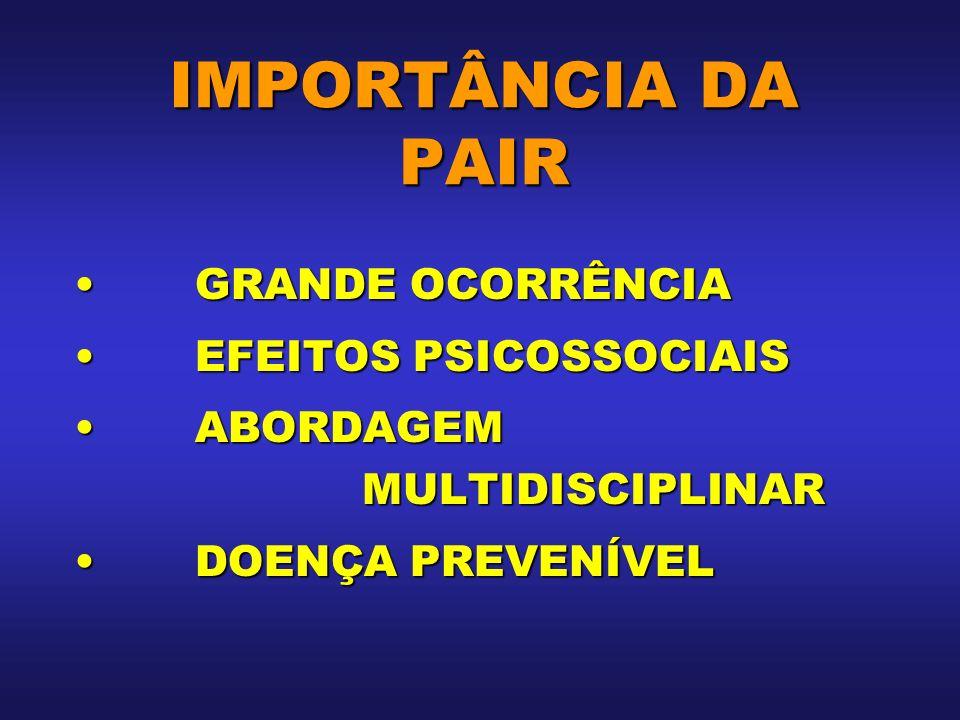 IMPORTÂNCIA DA PAIR GRANDE OCORRÊNCIAGRANDE OCORRÊNCIA EFEITOS PSICOSSOCIAISEFEITOS PSICOSSOCIAIS ABORDAGEM MULTIDISCIPLINARABORDAGEM MULTIDISCIPLINAR