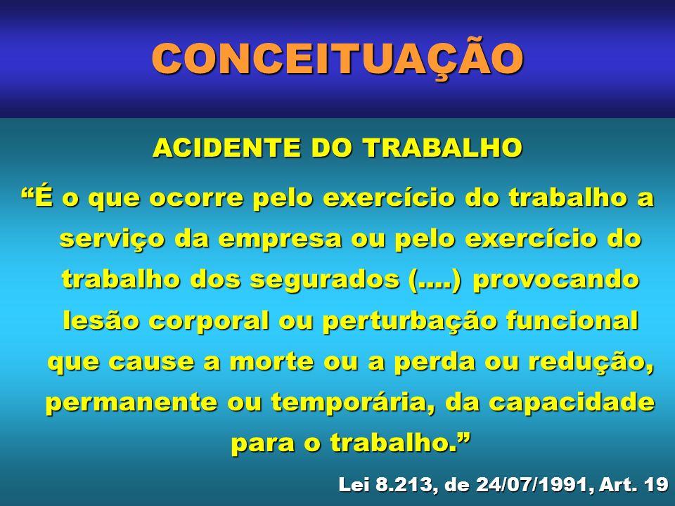 CONCEITUAÇÃO ACIDENTE DO TRABALHO É o que ocorre pelo exercício do trabalho a serviço da empresa ou pelo exercício do trabalho dos segurados (....) pr