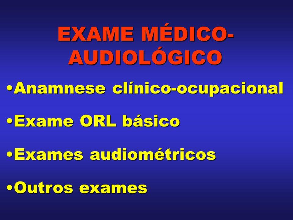 Anamnese clínico-ocupacionalAnamnese clínico-ocupacional Exame ORL básicoExame ORL básico Exames audiométricosExames audiométricos Outros examesOutros