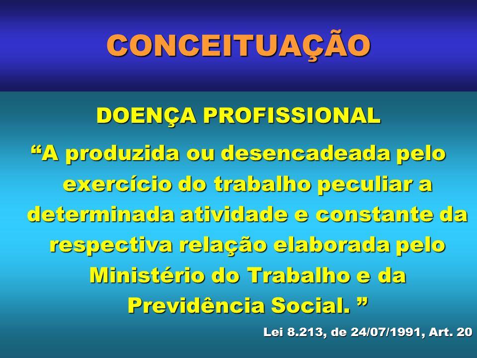 DOENÇA PROFISSIONAL A produzida ou desencadeada pelo exercício do trabalho peculiar a determinada atividade e constante da respectiva relação elaborad
