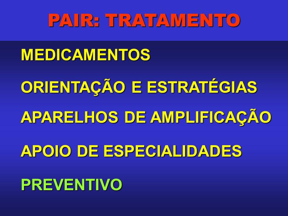 PAIR: TRATAMENTO MEDICAMENTOS MEDICAMENTOS ORIENTAÇÃO E ESTRATÉGIAS APARELHOS DE AMPLIFICAÇÃO APOIO DE ESPECIALIDADES PREVENTIVO