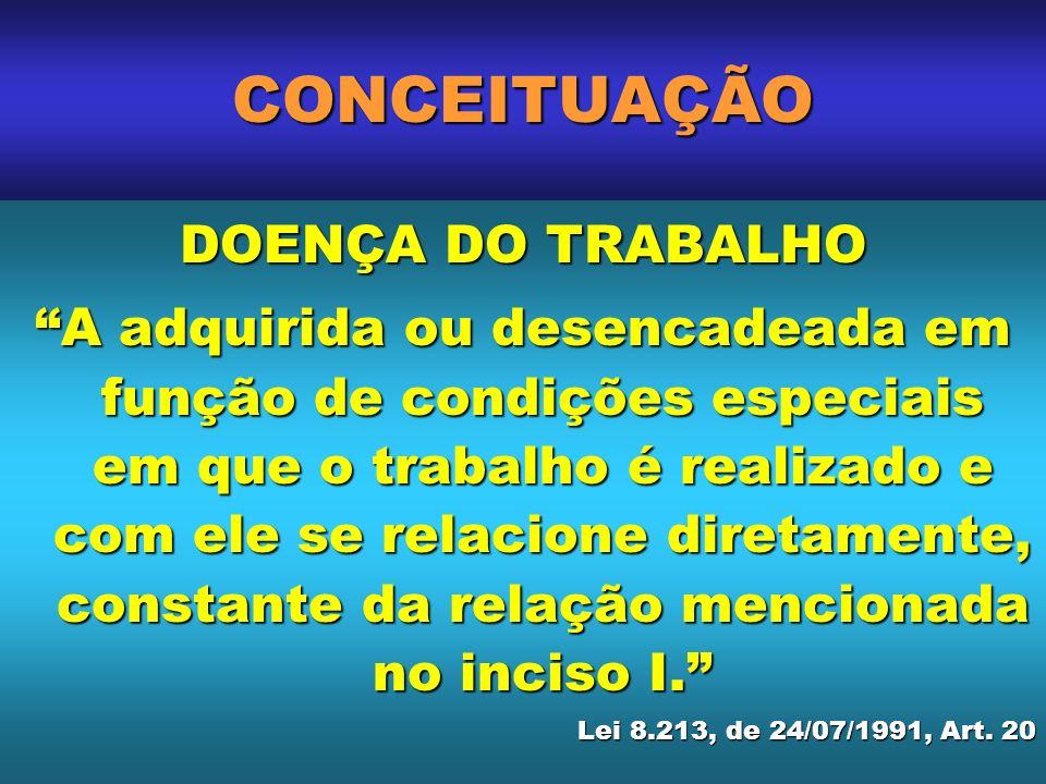 CONCEITUAÇÃO DOENÇA DO TRABALHO A adquirida ou desencadeada em função de condições especiais em que o trabalho é realizado e com ele se relacione dire