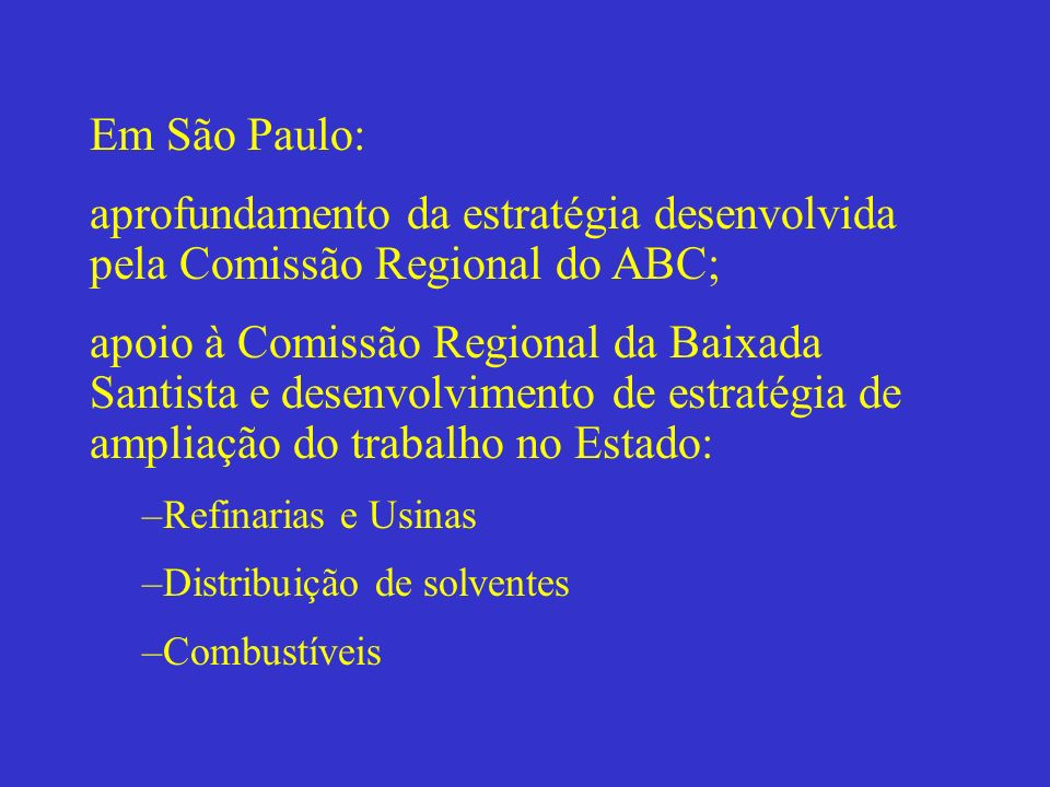 Em São Paulo: aprofundamento da estratégia desenvolvida pela Comissão Regional do ABC; apoio à Comissão Regional da Baixada Santista e desenvolvimento